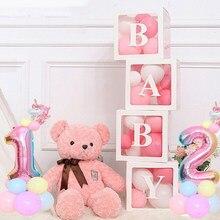 Caixa de Festa de Casamento Decorações Do Chuveiro de Bebê Decorações Balões transparentes 1st Um Babyshower Partido Decoração Presente de Aniversário Do Bebê Suprimentos