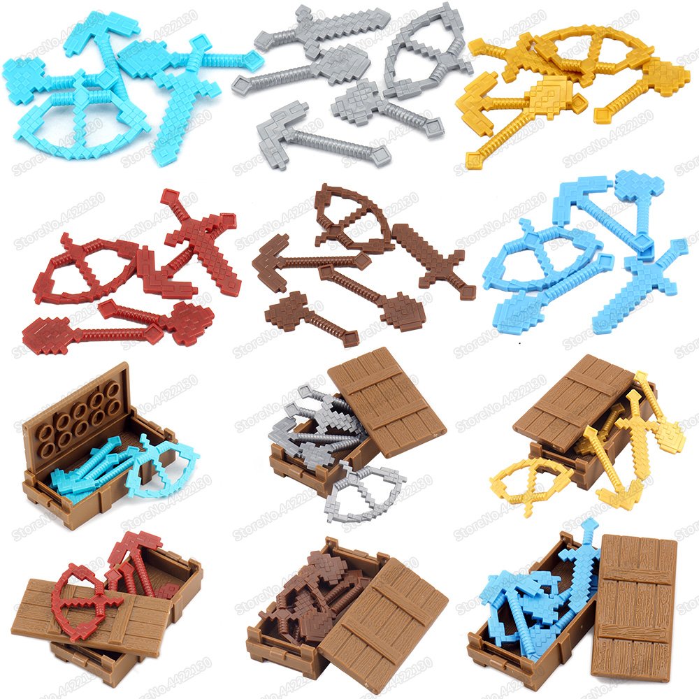 Assembly Minecraftinglys Weapons Figures Armed Tool Building Block Set Diy Land Reclamation Create Scenes Moc Child Gifts Toys