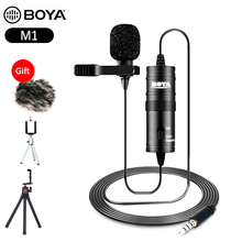BOYA BY M1 Audio Video Record 3.5mm clip on lapel lavalier microphone for camera iPhone Android DSLR Podcast Camcorder Recorder