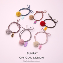 EUHRA 6 Colors Silicone Pendant Chinese Words Queen Pretty Girl For Women Elastic Hair Bands Kids Rubber High Elasticity