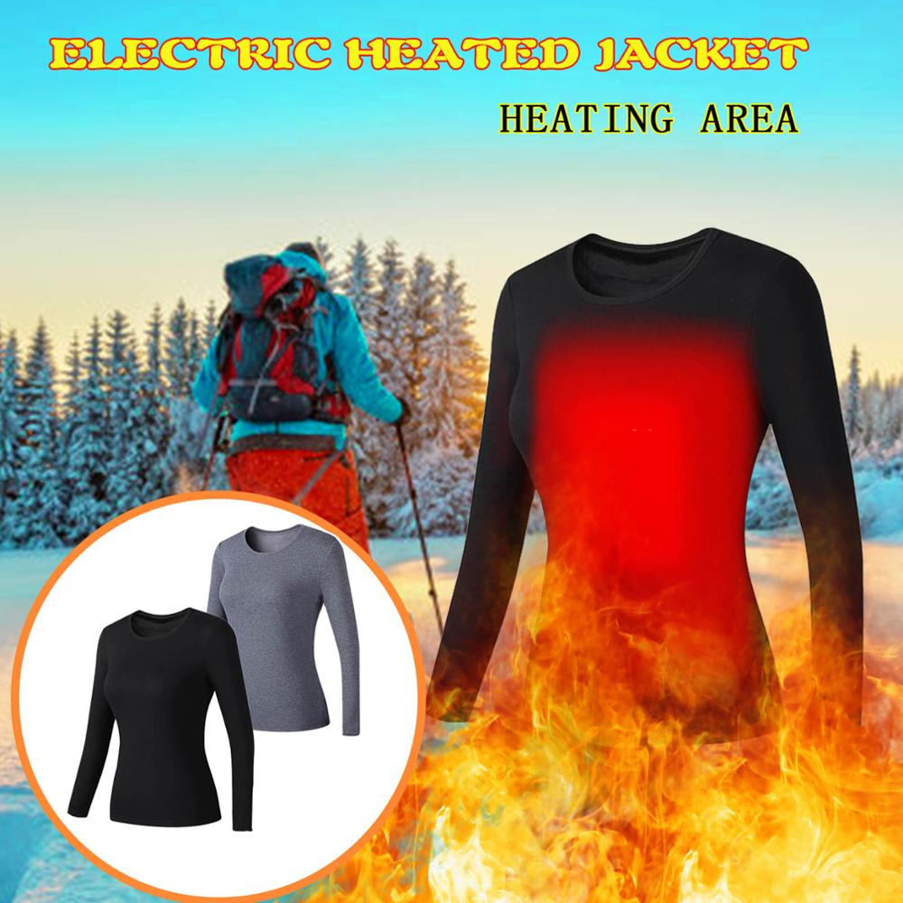 Outdoor Winter New Heated Women Heated Thermal Underwear USB Plug-in Charging Electric Warm Thermal Clothing for Winter S-4XL