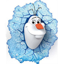цены на Disney Olaf funny 3Dwiew broken wall stickers Frozen Princess Elsa Anna vinyl for kids baby bedroom Accessories poster Decal  в интернет-магазинах