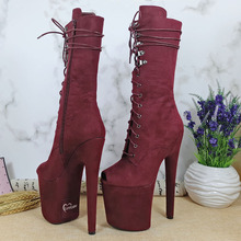 Leecabe Newest Burgundy Suede 20CM  High Heel platform  Pole Dancing boot