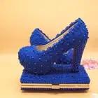 BaoYaFang/белые, ярко синие свадебные туфли с цветком и сумочкой в комплекте; женская обувь на платформе; модные женские туфли на высоком каблуке...