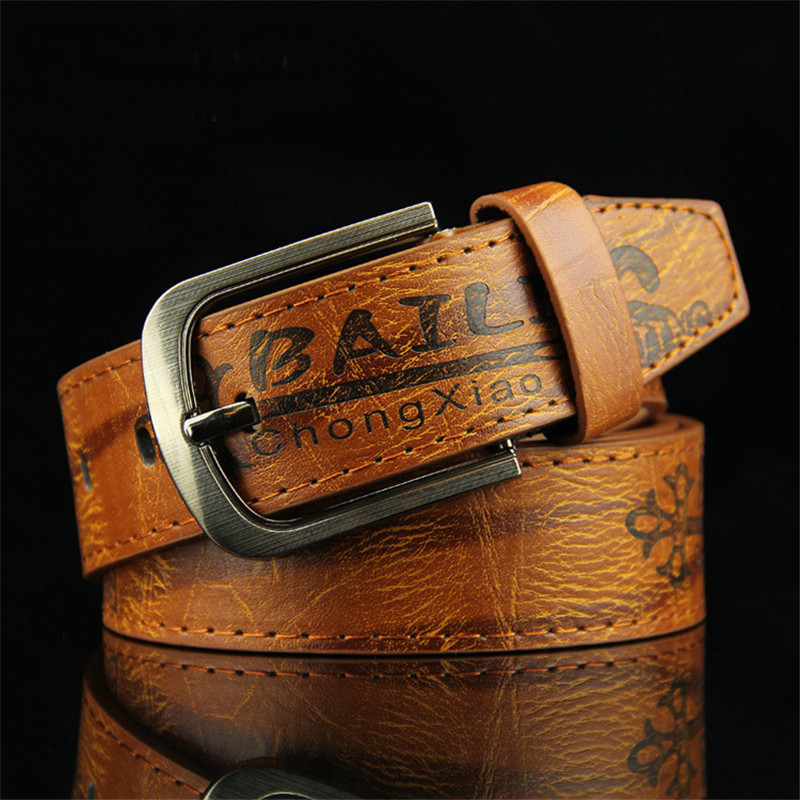 Leather Belts Men Pin Buckle Male Waistband Casual Wild Printing Locomotive Retro PU Leather Men's Belt 3.7cm Width 110CM Long