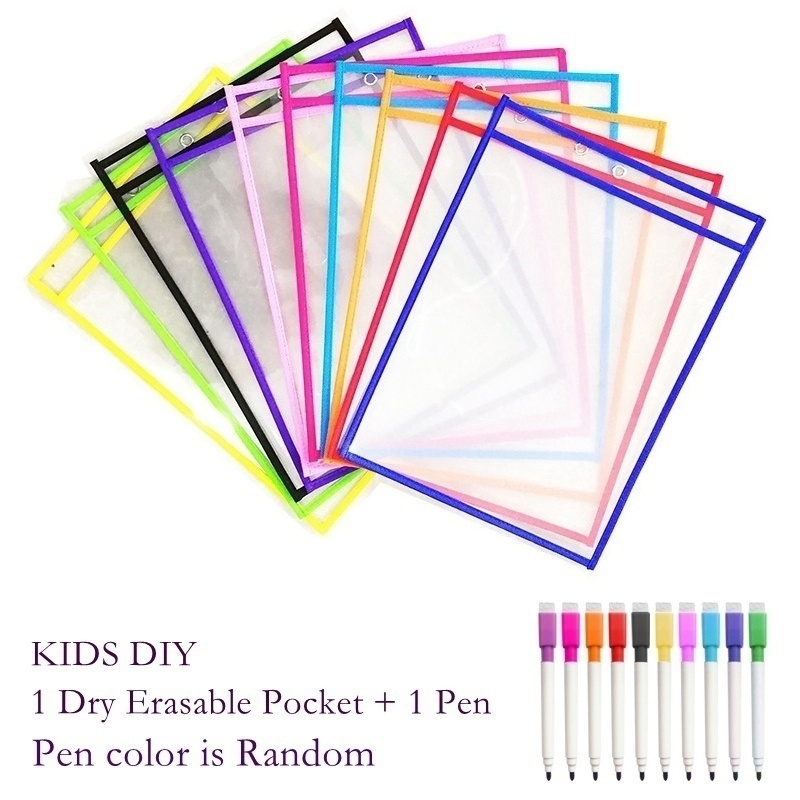 Reusable PP File Pockets With Pen, Kids DIY Dry Erasable Pockets A4/letter Hanging PP File Used For Teaching Supplies