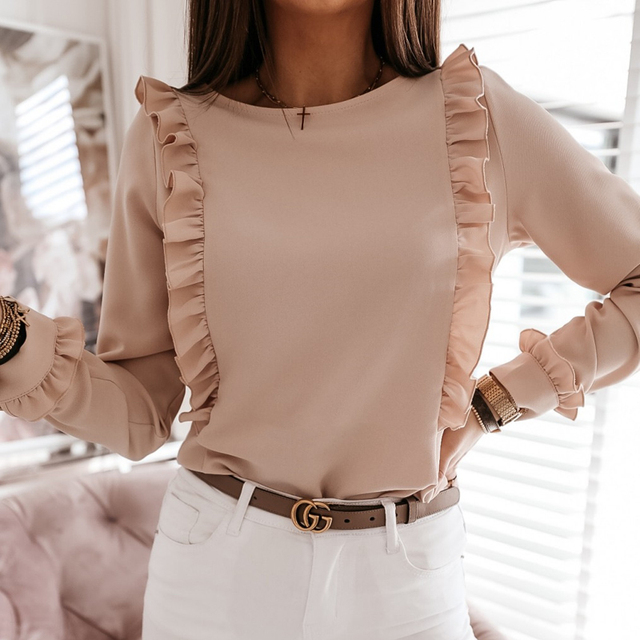 2021 Spring Autumn O Neck Ruffle Solid Shirts Elegant Office Lady Back Metal Buttons Blouses Casual Women Long Sleeve Chic Tops 3