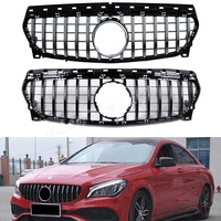 Front Racing Billet Bumper Grille Cover For Mercedes Benz W117 CLA Class 2014 2015 2016 GTR Black Silver