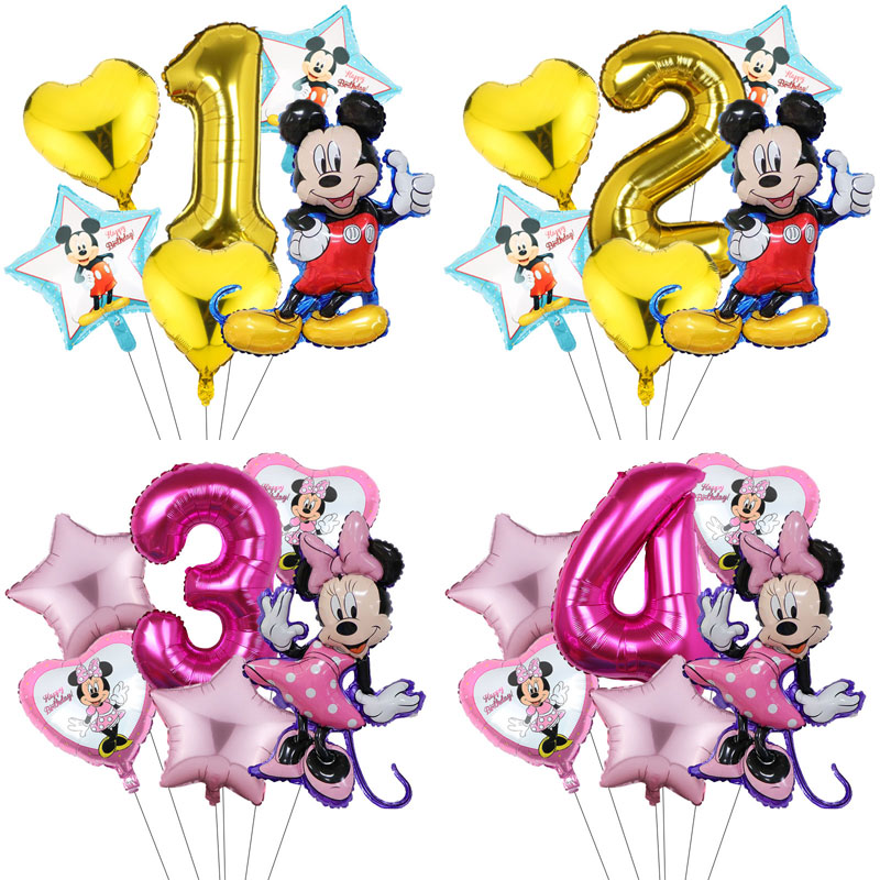 6pcs Mickey Minnie Balloons Birthday Party Decorations Baby Shower 32inch Number Cartoon Mickey Mouse Balloon Kids Toys Globos