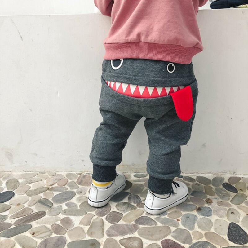 Cute Toddler Kid Baby Boys Cartoon Big Mouth Monster Print Pants Bottom Elastic Leggings Casual Trousers For 0-4 Years Children