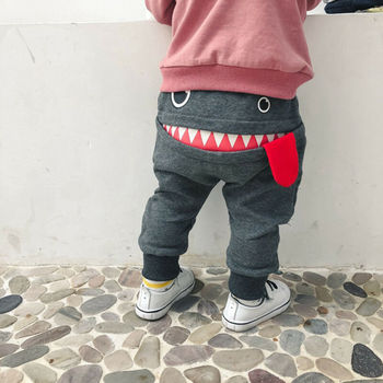 цена на Cute Toddler Kid Baby Boys Cartoon Big Mouth Monster Print Pants Bottom Elastic Leggings Casual Trousers For 0-4 Years Children
