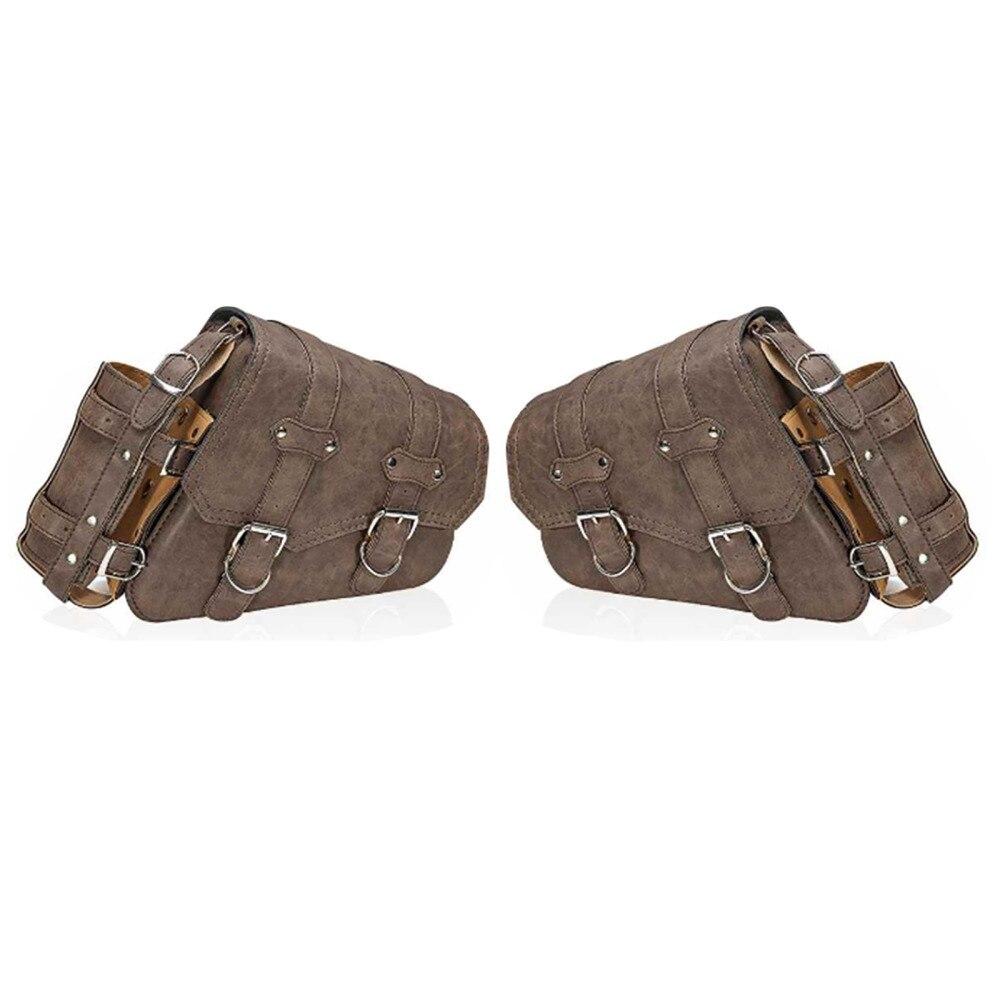 Saddle Bag Luggage Storage Multifunction PU Leather Universal Brown Black Right Durable Vintage Side Bags Motorcycle Saddlebags