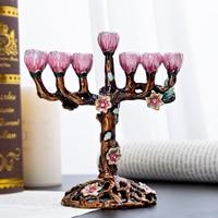 H&D 7 Branch Jewish Menorah Tree of Flowers Antique Hanukkah Menorah Collectible Chanukiah Candlestick Holder Jerusalem Gift