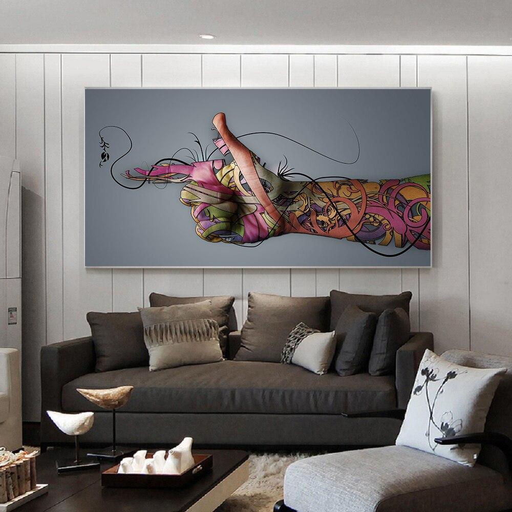 Абстрактный граффити настенный Декор для дома Картина на холсте