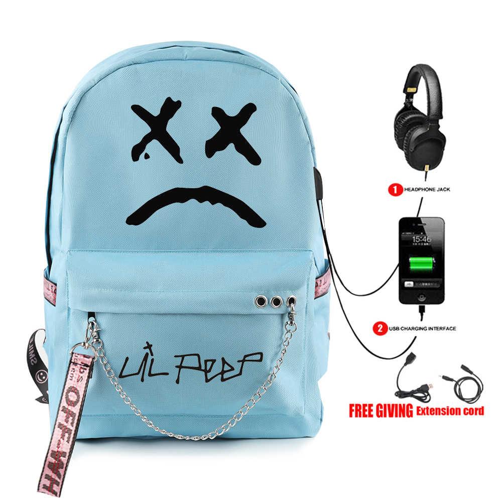 Ventole Lil Peep Rosa Preferito Per La Scuola Dello Zaino del capretto Ragazze Adolescenti Studente Borse di Tela Impermeabile USB Del Computer Portatile Zaino Da Viaggio