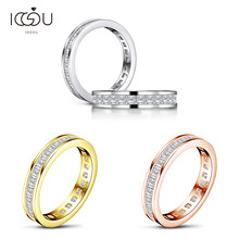 IOGOU 925 Sterling Silver Full Eternity Band Ring Women Engagement Ring Princess Cut Diamond Wedding Silver Bridal Rings Jewelry