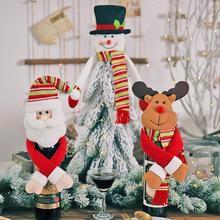 Cartoon Doll Holding Hands Wine Bottle Cover Originality Personality The Elderly Snowman Elk Christm