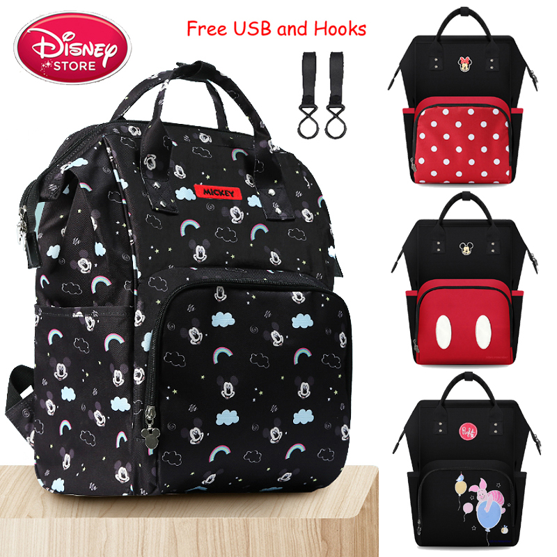 Genuine Disney Diaper Bag Backpack Oxford Mummy Maternity Bags For Baby Care Travel Handbags Disney Minnie Mickey Mouse Bags