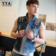 New Mens Denim Causal Vest Jean Jacket Sleeveless Biker Button Trucker Hole Vests Waistcoats Motorcycle chaleco Oversized 4XL(China)