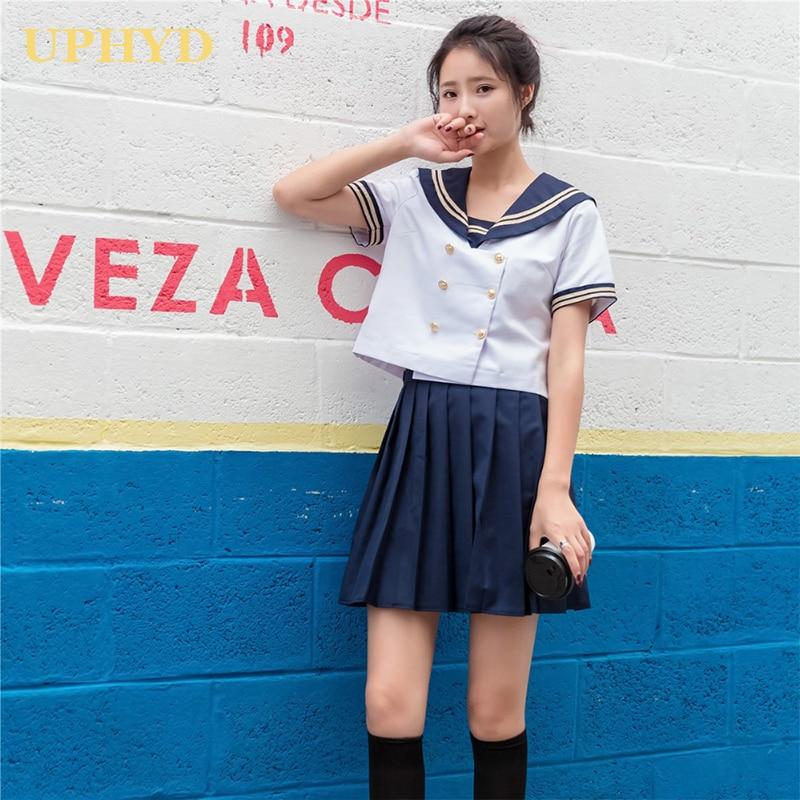 JK Girl/'s Uniform Cosplay School Navy Sailor Short Sleeve Dress Skirt  Costume