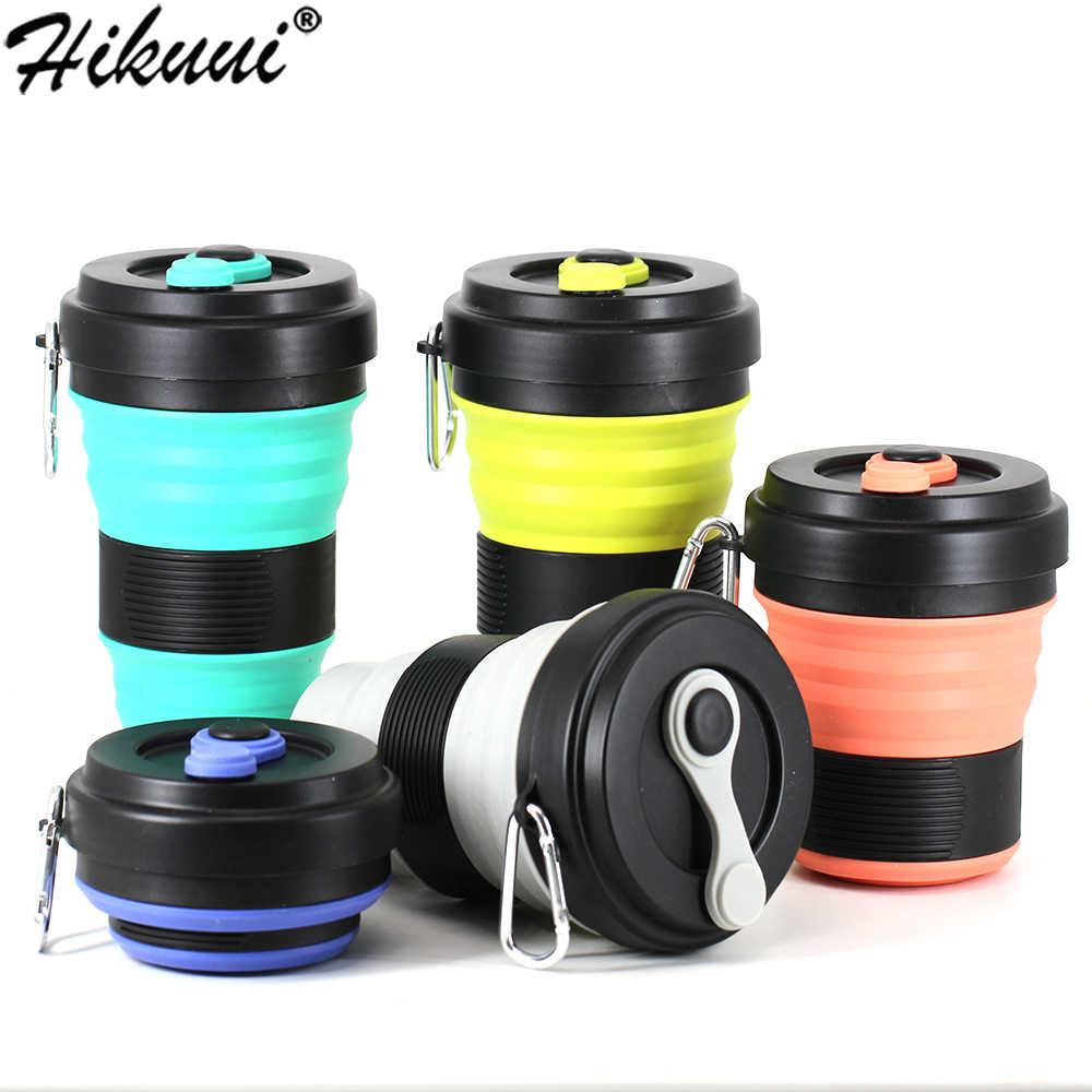 Caneca de silicone viagem 550ml copos de café bpa livre dobrável silicone caminhadas canecas portátil telescópica beber dobrável à prova de vazamento