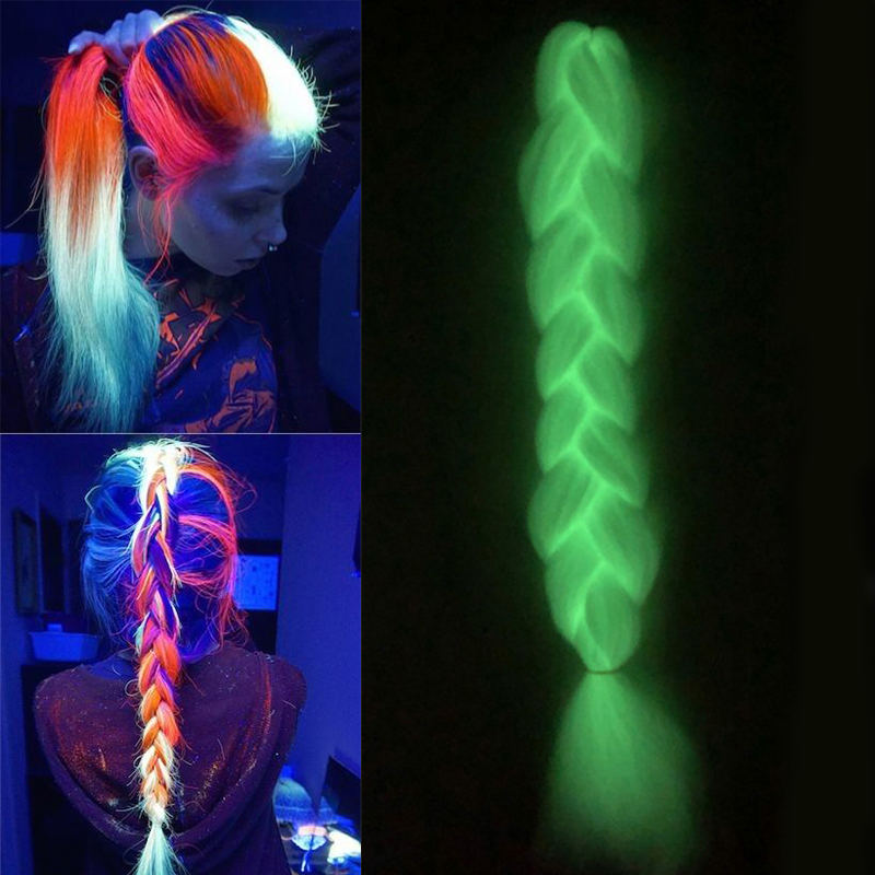 Glowing Jumbo Braiding Hair Extensions Colorful Synthetic Hair For African Braid Florescent Light Kanekalon Hair Braids Msglamor
