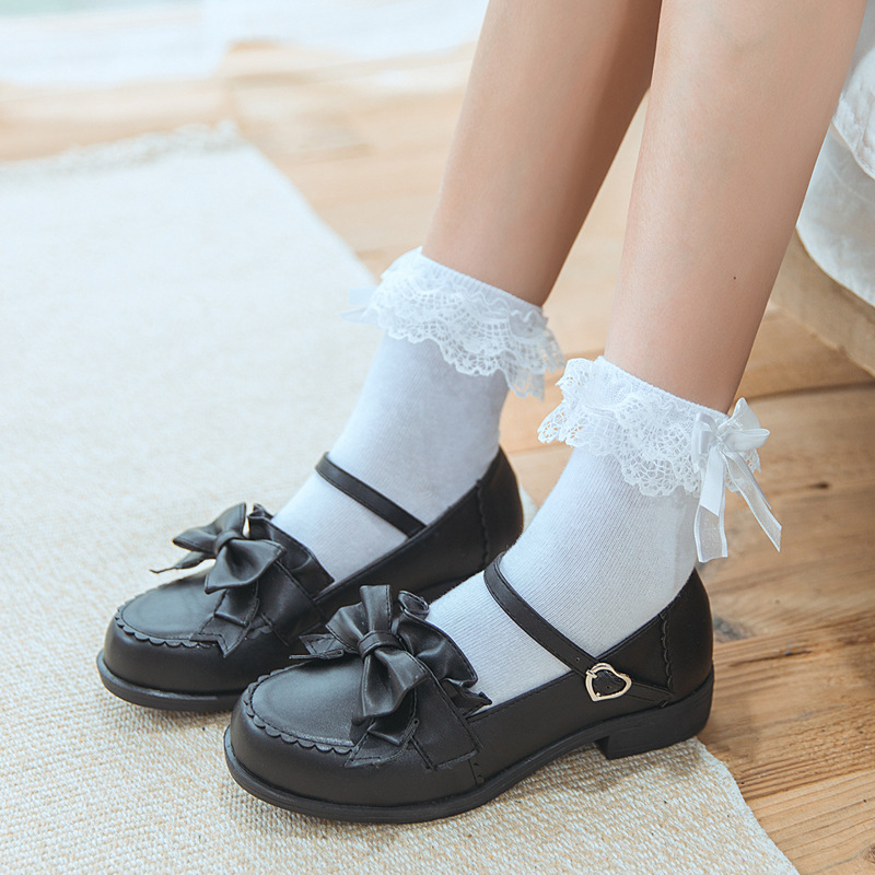 1 Pair Sweet Women Lace Ruffle Bow Ankle Sock Soft Comfy Cotton Elastic Knit Frill Trim Ankle Socks Wholesale Newest