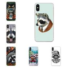 For Xiaomi Mi3 Mi4 Mi4C Mi4i Mi5 Mi 5S 5X 6 6X 8 SE Pro Lite A1 Max Mix 2 Note 3 4 Soft Art Print Cute Raccoon(China)
