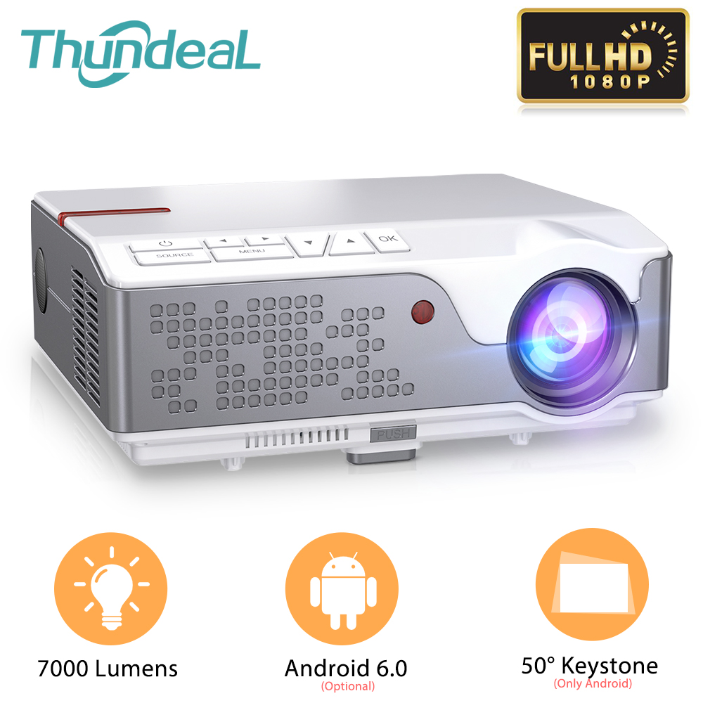 Thundeal td96 completo hd 1920x1080p projetor 7000 lumens suporte de cinema 4k led proyector android wifi hdmi casa teatro 3d beamer