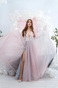 Image 1 - Платья на выпускной różowy tiul sukienka na studniówkę wysoki podział głęboki dekolt suknia wieczorowa linia zasznurować vestido de festa