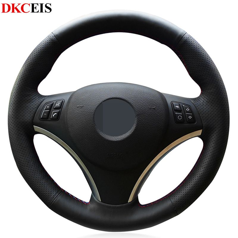 DIY Hand-stitched Black Soft Artificial Leather Car Steering Wheel Cover for BMW E90 335i 330i 320i 325i E87 120i 130i 120d image