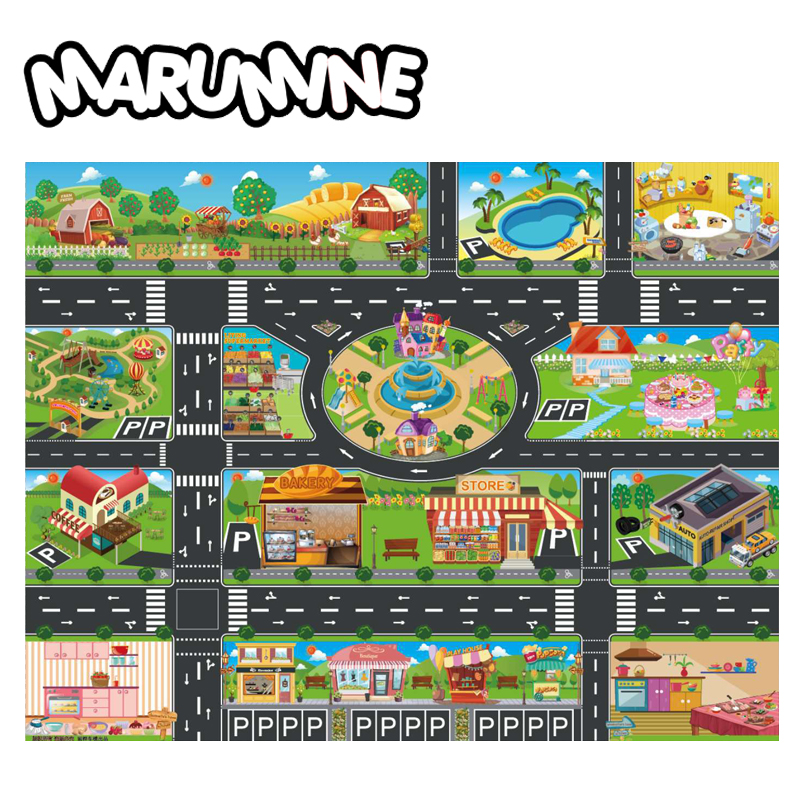 Marumine Kids Road Mat <font><b>130*100CM</b></font> Play Mat City Car Taffic Highway Map Carpe Floor Play Mat Educational Toys For Kids Gym Games image
