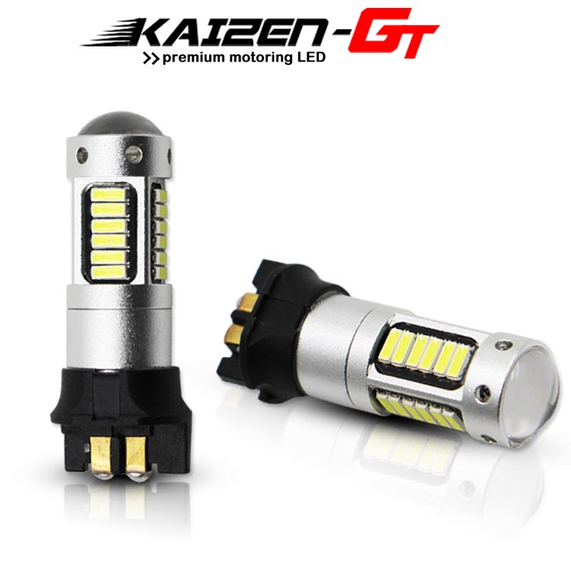 Error Free <font><b>PW24W</b></font> PWY24W Amber/ Xenon White 30-SMD Turn signal Lights LED Bulbs For BMW F30 3 Series Daytime Running Light DRL image