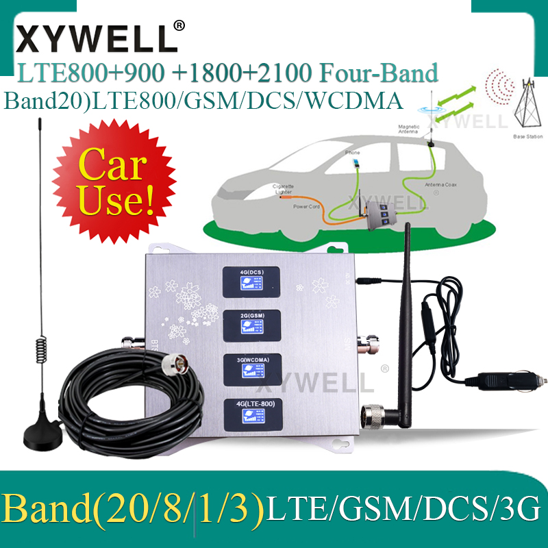 Car Use Band20)4G LTE 800/900/1800/2100mhz Four-Band Cellular Amplifier GSM Mobile Signal Booster 2G 3G 4G LTE Cellular Repeater