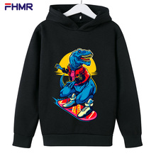 Cartoon Dinosaur Letter Print Hoodies boy Hooded Oversize Pullovers Harajuku Warm Kawaii girl Loose Streetwear Sweatshirts kid
