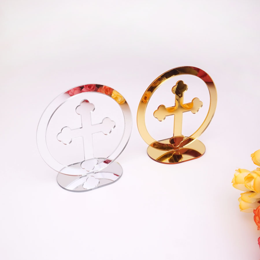 20pcs 10cm High Mirror Cross Prayer For Table God Bless Of The Lord's Prayer Christening & Baptism House Moving
