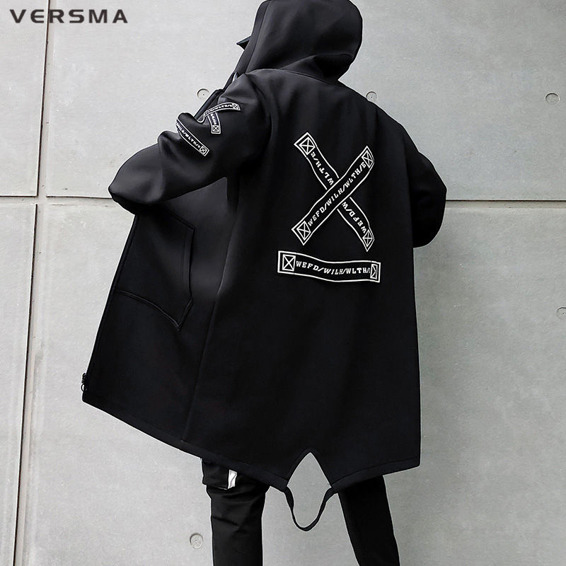 VERSMA Korean Style Clothing Men Ribbon Patch Mens Long Jackets Hip Hop Streetwear Long Gothic Punk Men Trench Coat Dropshipping