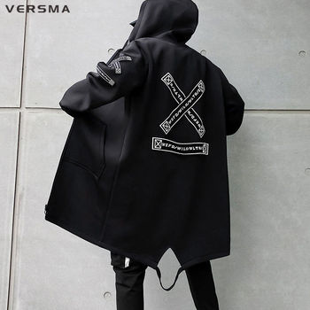 VERSMA Korean Style Clothing Men Ribbon Patch Mens Long Jackets Hip Hop Streetwear Long Gothic Punk Men Trench Coat Dropshipping