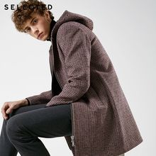 SELECTED New Woolen Houndstooth Jacket Hooded Long Winter Coat Men's Jacket S | 418427548(China)