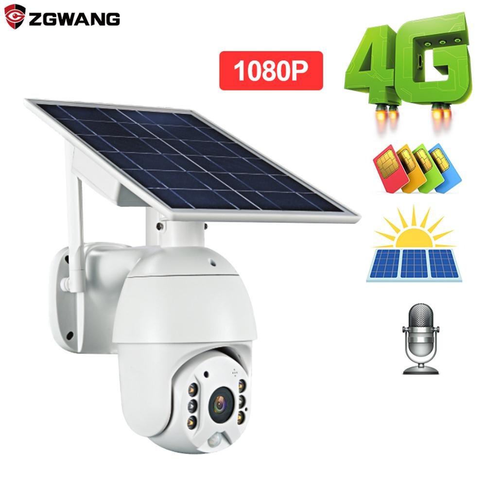 ZGWANG 1080p HD IP Camera 4G Version Shell Solar Security Camera Outdoor Indoor Security With Solar Pane