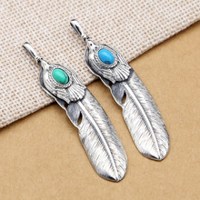 925 Sterling Silver Men Women Vintage Feather Eagle Inlaid turquoise Pendant Necklace Jewelery vintage feather necklace