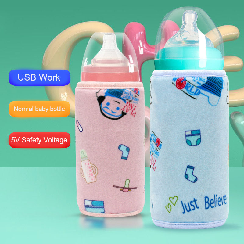 USB Milk Water Warmer Baby Bottle Travel Portable Car Outdoor Infant Feeding Bottle Heated Cover Insulation Thermostat Heater