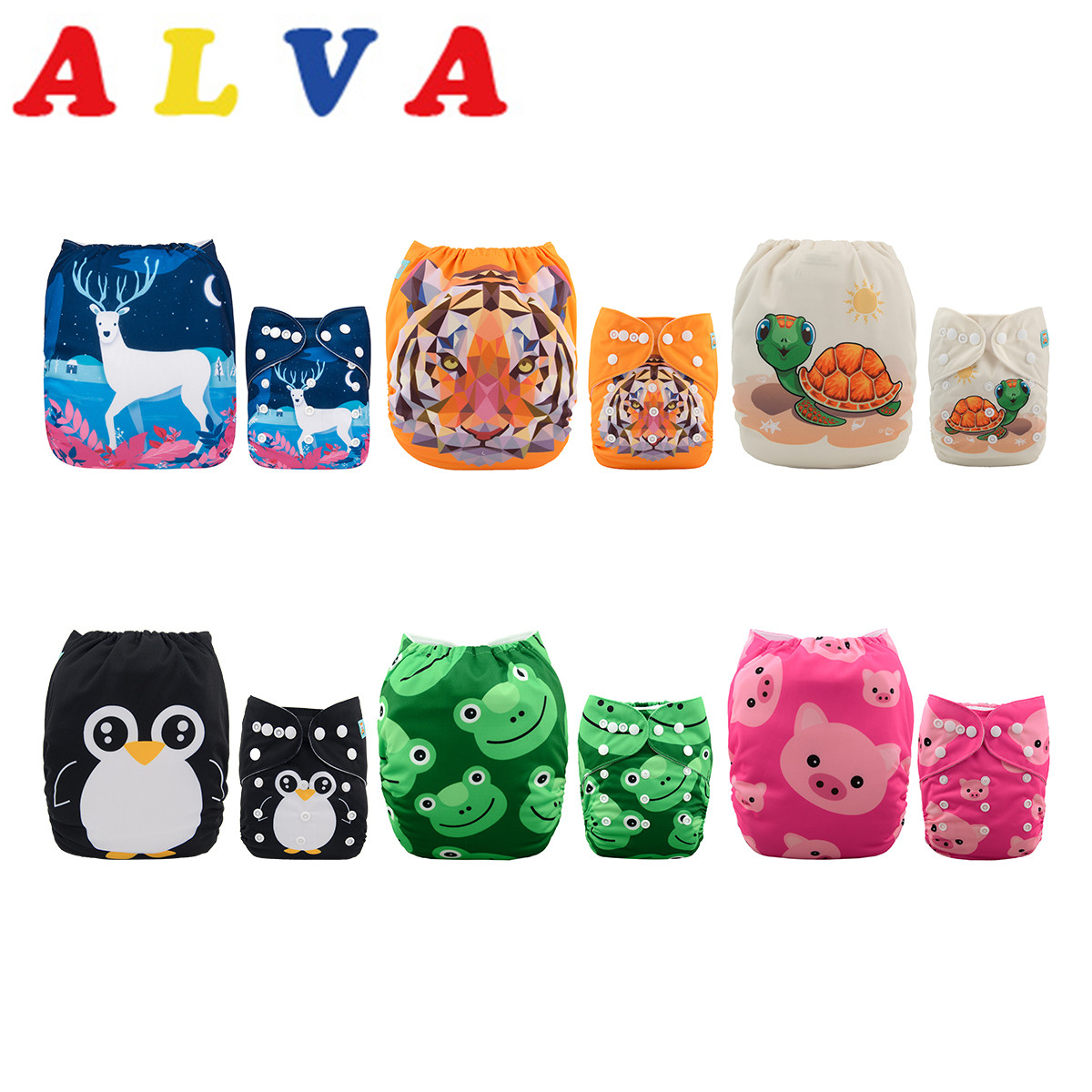 ALVABABY Cloth Nappy Baby-Cloth-Diapers 12-Inserts Adjustable for And Boys One-Size title=