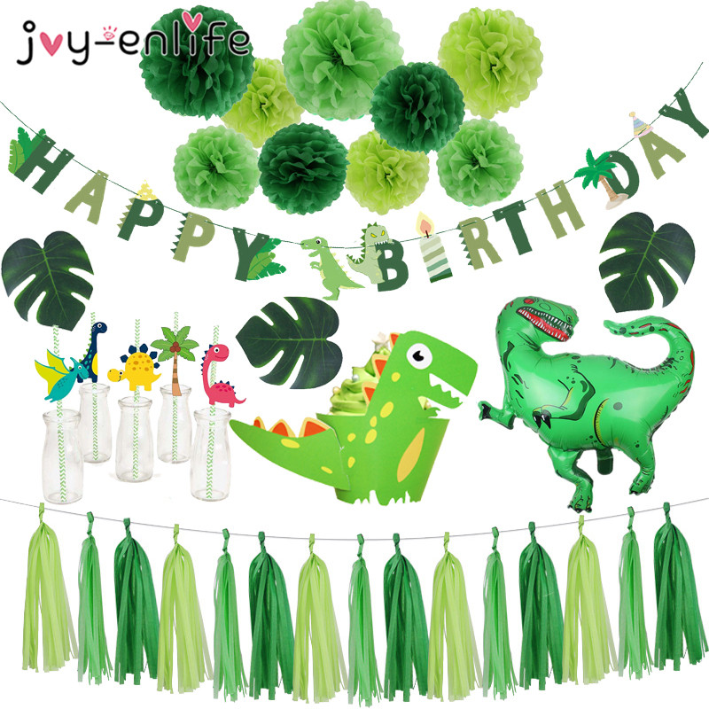 Roar Dinosaur Party Balloon Bunting Garland Wild One 1st Boy Birthday Party Decor Cake Toppers Palm Leaves Jungle Dino Party