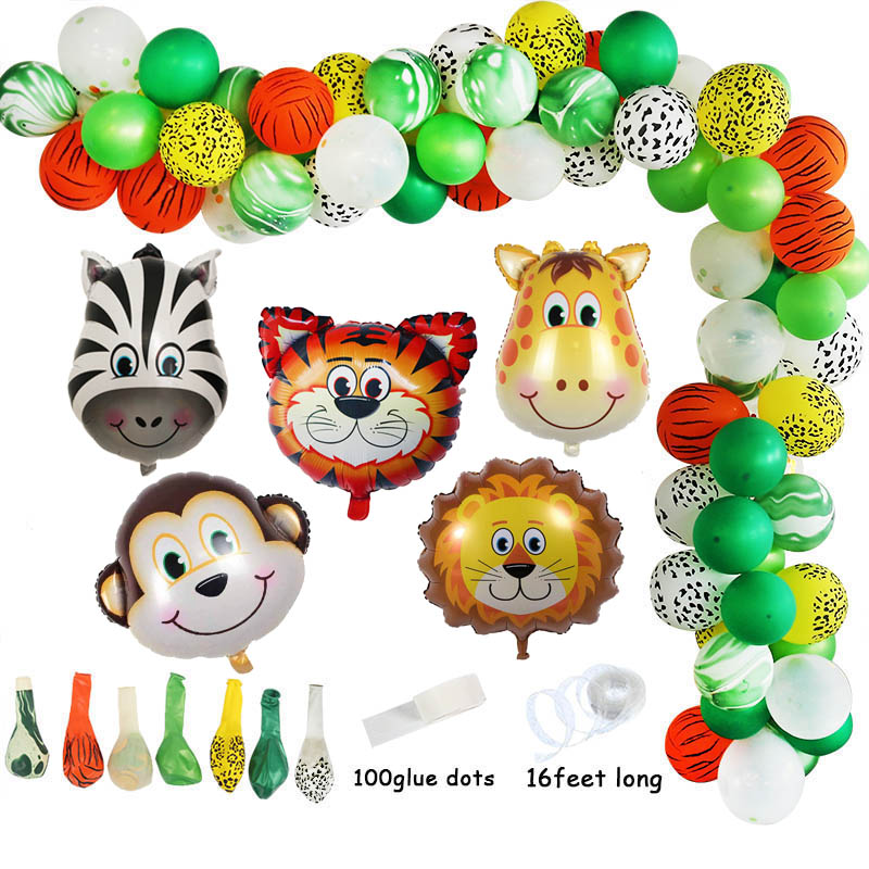 US $3 5 32% OFF|Jungle Safari 1st Birthday Party Decoration Kids 1 12  Months Photo Frame Banner Gift Bags Balloons Arch Garland Baby Shower Boy  on