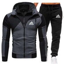 Zipper Sweatshirt Printing-Hoodie-Set Men-Sets Men's Clothing Mens Tracksuits Fleece