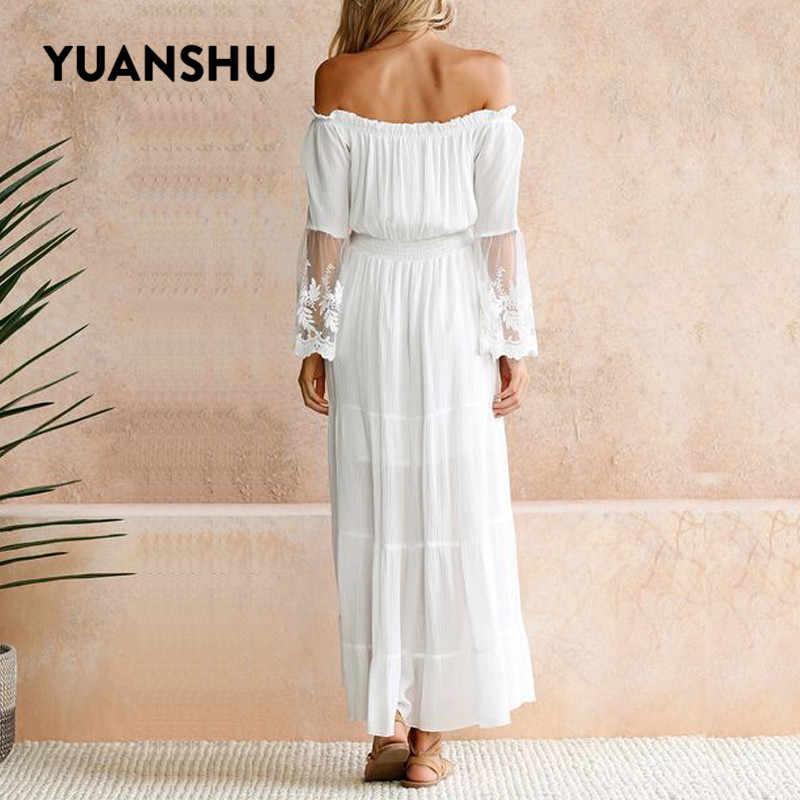 YUANSHU осеннее белое шифоновое кружевное длинное платье с открытыми плечами для женщин, лоскутный пуловер с вырезом лодочкой, тонкое платье, элегантные вечерние платья