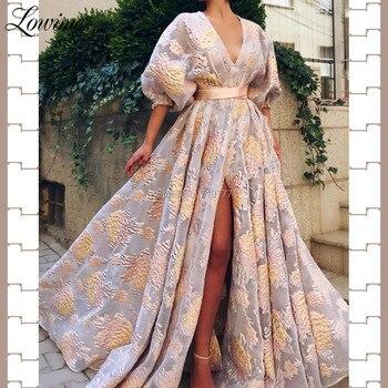 Floral Pattern V Neck Prom Dresses Abendkleider Half Sleeves Evening Gowns Women A Line Arabic Party Dress 2019 Vestido De Festa - discount item  45% OFF Special Occasion Dresses