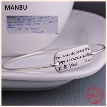 MANBU New fashion Custom bangles for women rectangle 925 sterling silver Engraved name letters trendy jewelry gift