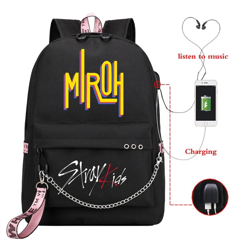 Mochila Stray Kids MIROH Bookbag Kpop Backpack Usb Charge School Bags For Teenage Girls Women Backpack Laptop Travel Backpack